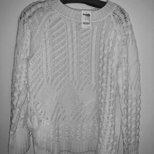NEW White Small Charlotte Russe Open Knit Sweater